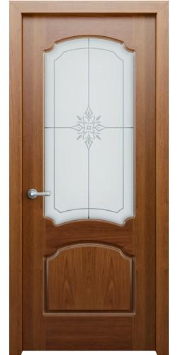 Межкомнатная дверь шпонированная со стеклом Фламенко орех