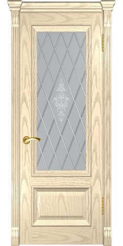 Дверь межкомнатная шпонированная со стеклом Фараон 1 дуб слоновая кость