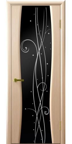 Межкомнатная дверь шпонированная со стеклом Диамант 2 беленый дуб