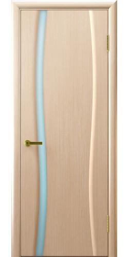 Межкомнатная дверь шпонированная со стеклом Диадема 1 беленый дуб-(Клеопатра 1)