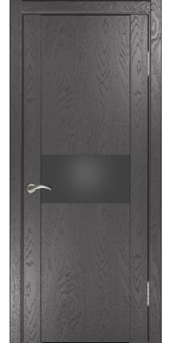 Межкомнатная дверь шпонированная со стеклом Орион 1 дуб серая эмаль