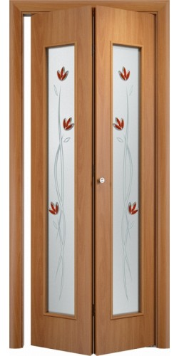 Межкомнатная дверь 3D со стеклом Тюльпан ск миланский орех
