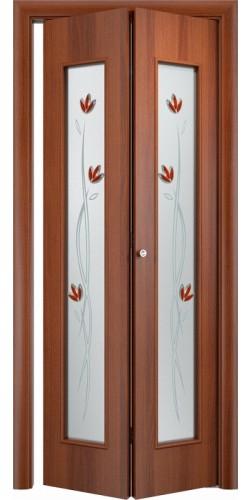 Межкомнатная дверь 3D со стеклом Тюльпан ск итальянский орех