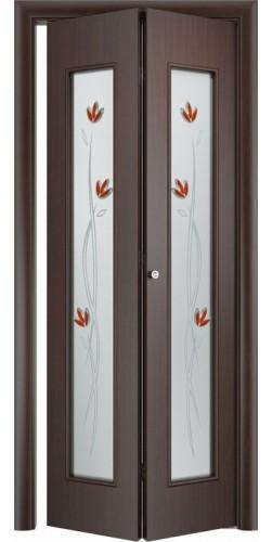 Межкомнатная дверь 3D со стеклом Тюльпан ск венге