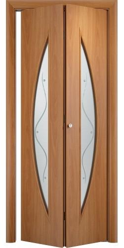 Межкомнатная дверь 3D со стеклом Парус ск миланский орех