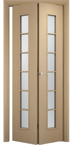 Межкомнатная дверь 3D со стеклом Лесенка ск беленый дуб