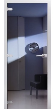 Стеклянная дверь 08 Зеркальное синие
