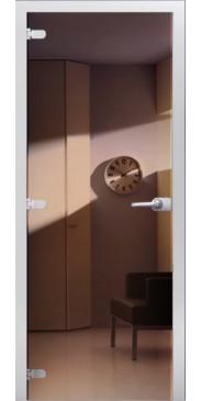 Стеклянная дверь 09 Зеркальное темная бронза