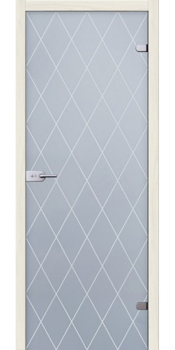 Стеклянная дверь Кристалл белое сатинато