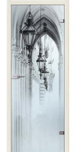 Стеклянная дверь Аркадия Белое сатинато