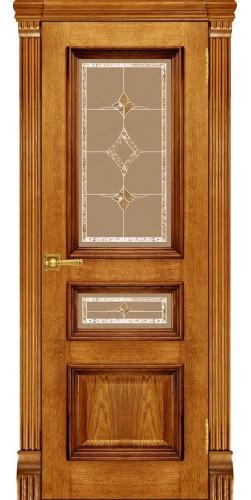 Межкомнатная дверь шпонированная со стеклом Барселона Антико