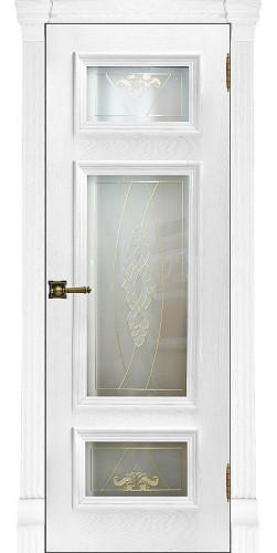 Межкомнатная дверь шпонированная со стеклом Мадрид перла