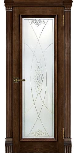 Дверь межкомнатная шпонированная Тоскана со стеклом цвет бренди