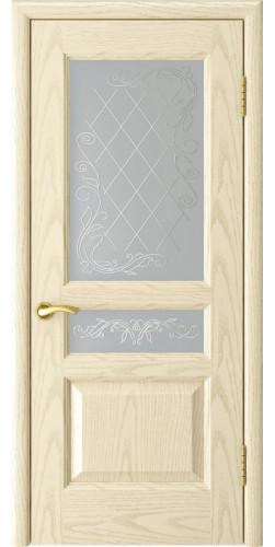 Дверь межкомнатная шпонированная со стеклом Атлант-2 ясень слоновая кость