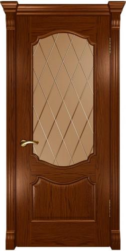 Дверь межкомнатная шпонированная со стеклом Венеция Дуб сандал