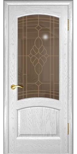 Межкомнатная дверь шпонированная со стеклом Лаура Дуб белая эмаль