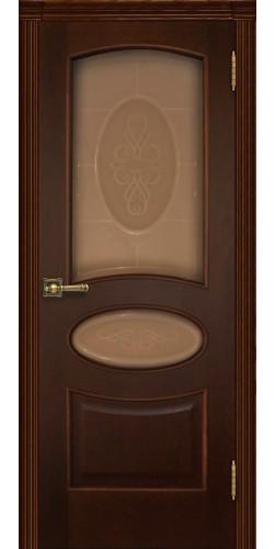 Дверь межкомнатная шпонированная Оливия со стеклом цвет орех