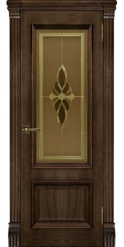 Межкомнатная дверь шпонированная со стеклом Корсика Брэнди