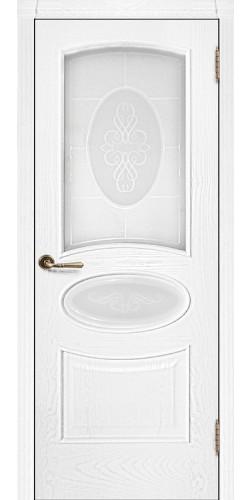Межкомнатная дверь шпонированная со стеклом Оливия ясень жемчуг