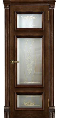 Дверь межкомнатная шпонированная Мадрид со стеклом цвет бренди