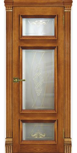 Межкомнатная дверь шпонированная со стеклом Мадрид антико