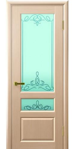 Межкомнатная дверь шпонированная со стеклом Валентия 2 беленый дуб
